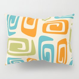 Mid Century Modern Cosmic Abstract 738 Orange Blue and Green Pillow Sham