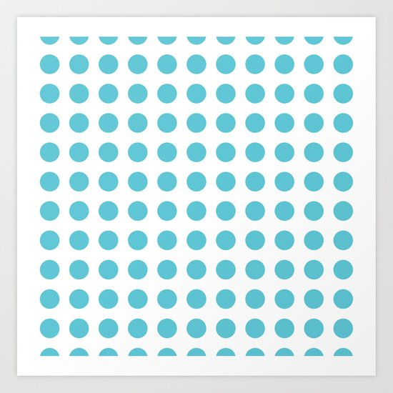 Simply Polka Dots in Seaside Blue Art Print