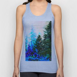 SCENIC BLUE MOUNTAIN GREEN PINE FOREST Unisex Tank Top