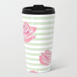 Vintage Rose Pattern on Soft Green Stripe Metal Travel Mug