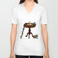 cheese V-neck T-shirts featuring Cheese by Anna Shell