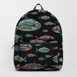 Colored fish (black background) Backpack