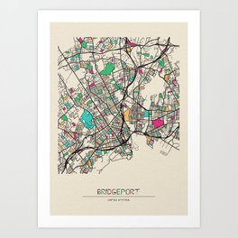Colorful City Maps: Bridgeport, Connecticut Art Print