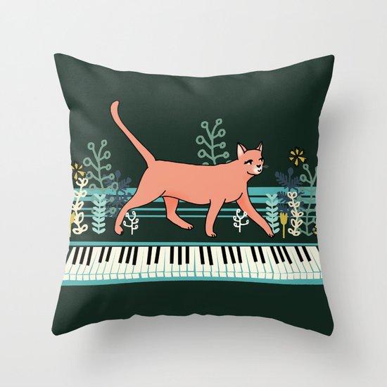 Kitten on the Keys Throw Pillow