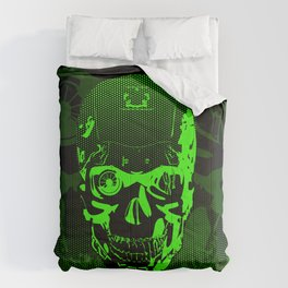 Gamer Skull CARTOON GREEN / 3D render of cyborg head Comforters