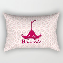 Meditating Pink Flamingo, Namaste Rectangular Pillow