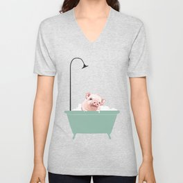 Baby Pink Pig Enjoying Bubble Bath Unisex V-Neck