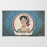 jane austen Area & Throw Rugs featuring Jane Austen said... by Mrs Peggotty