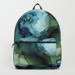 Blue Green Waves Abstract Ink Painting Backpack
