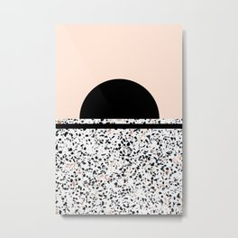 Terrazzo Stone Pattern Black and Orange Peach Metal Print