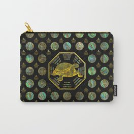Golden Tortoise / Turtle Feng Shui Abalone Shell Carry-All Pouch