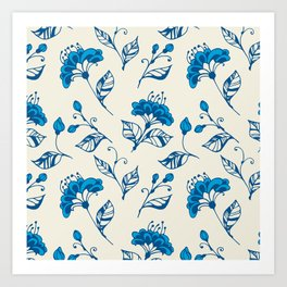 Doodle flowers in blue Art Print