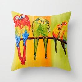 Snuggly Birds Throw Pillow