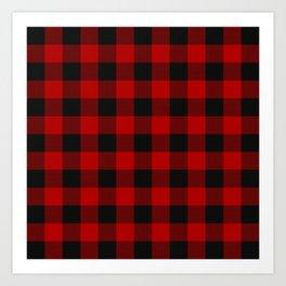Red and black squares plaid print Art Print