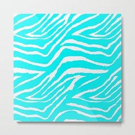 Zebra Animal Print Blue and White Metal Print