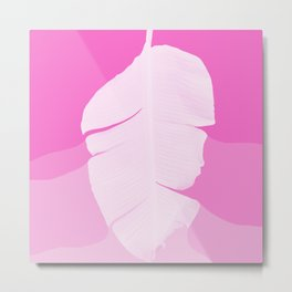 Tropical Banana Leave Pastel Pink Ombre Design Metal Print