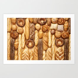 Bread baking rolls and croissants background Art Print