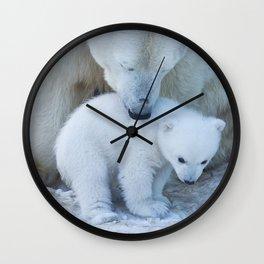 Polar Bear Mother and Cub portrait. Wall Clock
