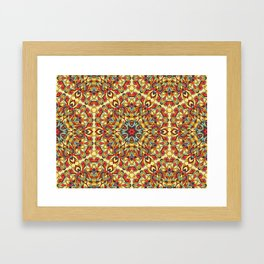 Yellow geometric Mandala Rich ornament Framed Art Print