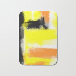 orange yellow and black painting abstract with white background Bath Mat