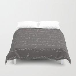 New York Skyline // Charcoal Grey Duvet Cover