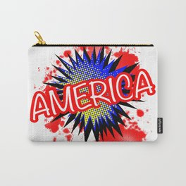America Red White And Blue Cartoon Exclamation Carry-All Pouch