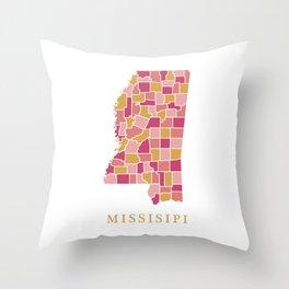 Missisipi map Throw Pillow