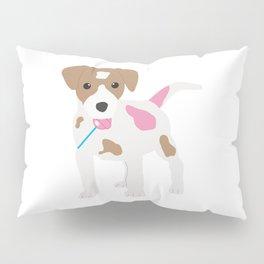 Dog Licking a Pink Lollipop Pillow Sham