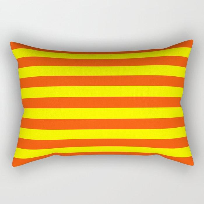 Super Bright Neon Orange and Yellow Horizontal Beach Hut Stripes Rectangular Pillow