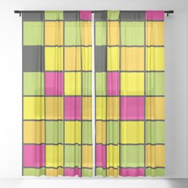 Bright neon colors square pattern Sheer Curtain