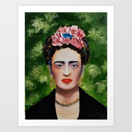 Frida Kahlo in thick textured oil on canvas Art Print