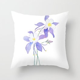 purple columbine flower Throw Pillow