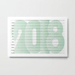 Green 2018 Sunday planner landscape Metal Print