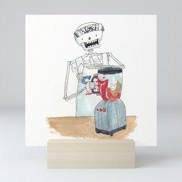 Skeleton buff dude with bandana and blender Mini Art Print