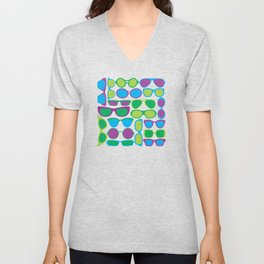 Sunglasses Pattern in Cool Colors Unisex V-Neck