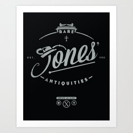 """Jones' Rare Antiquities"" - silver version Art Print"