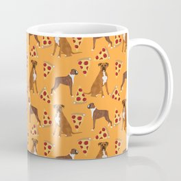 Boxer pizza party cute junk food cheese dog art pet portrait boxer dog breed must have gifts for dog Coffee Mug
