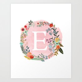 Flower Wreath with Personalized Monogram Initial Letter E on Pink Watercolor Paper Texture Artwork Kunstdrucke