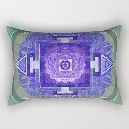 Soulful Healing Purple and Moss Green Texture Boho Mandala Rectangular Pillow