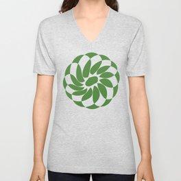 ROSETTE Green & White Unisex V-Neck