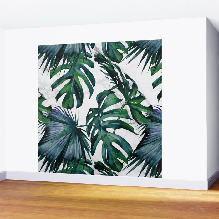 Tropical Palm Leaves Classic on Marble Wall Mural