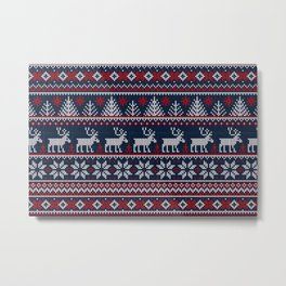 Ugly sweater Merry Christmas Happy New Year vintage nodric illustration knitted pattern folk style scandinavian ornaments. Navy, red, blue colors. Metal Print