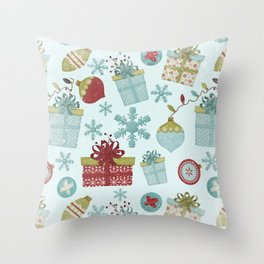Merry Christmas-Festive gift and Christmas Bowls X-Mas Pattern Throw Pillow