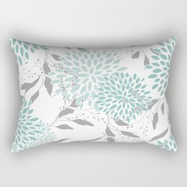 Festive, Floral Blooms and Leaves, Teal and Gray Rectangular Pillow