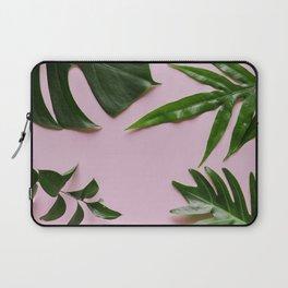 Tropical Palm Leaf Pink Background Laptop Sleeve