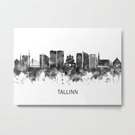 Tallinn Estonia Skyline BW Metal Print