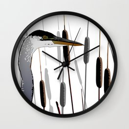 Great Blue Heron - White Background Wall Clock
