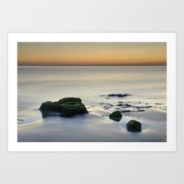 Magic reflections at sunset. Calm at the beach Art Print