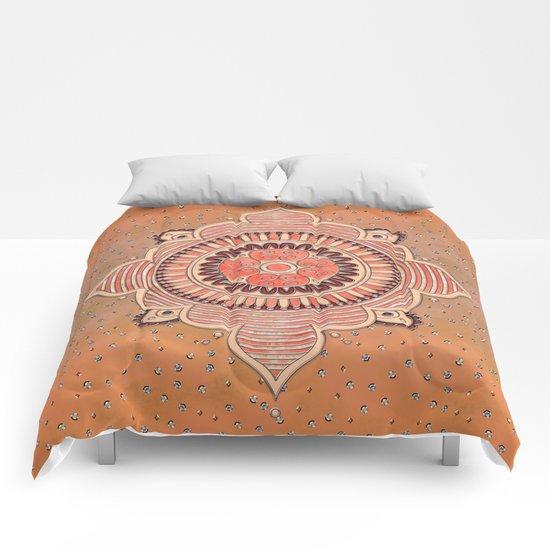Mandala ornament orange Comforters