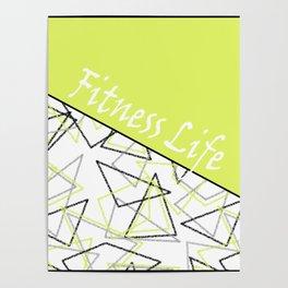 The fitness club . Sport . Lemon white creative sport pattern . Poster
